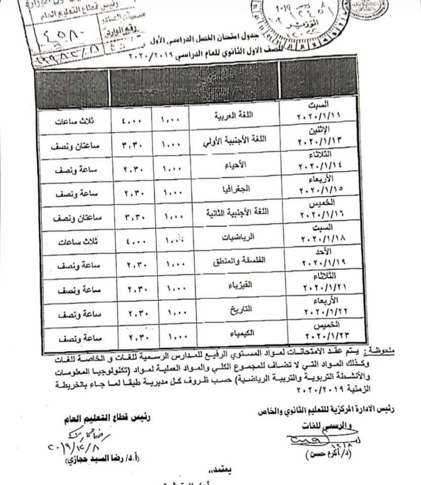 جدول امتحانات الصف الاول الثانوى
