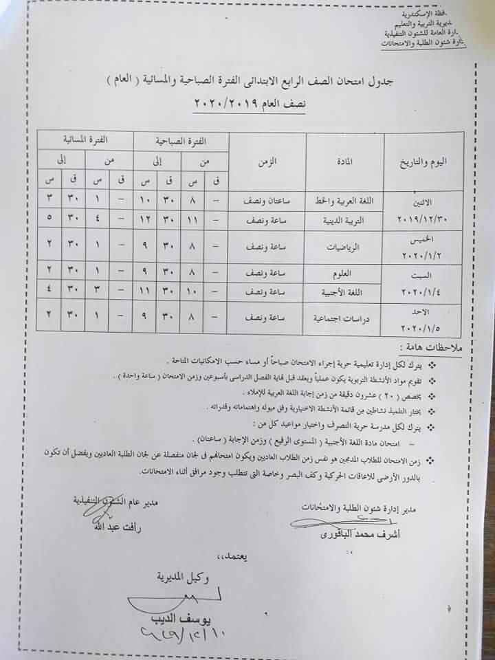 جدول امتحانات محافظة الأسكندرية جميع المراحل للعام الدراسى 2020