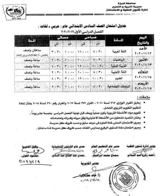 جدول امتحانات محافظة الجيزة المرحلة الإبتدائية لعام 2020