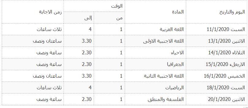 جدول امتحانات محافظة القليوبية الثانوى العام 2020