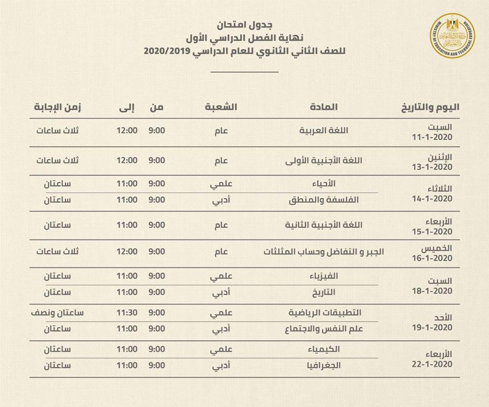 جدول امتحانات محافطة المنيا الثانوي العام 2020