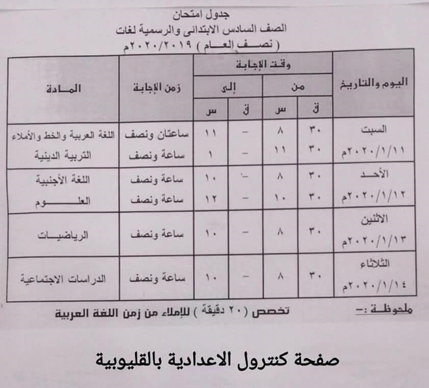 جدول امتحانات محافظة القليوبية الشهادة الإبتدائية  2020
